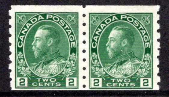 "128 Scott - 2c green, MNHOG, wet printing, pair, 1930, ""King George Arch/Leaf Is"