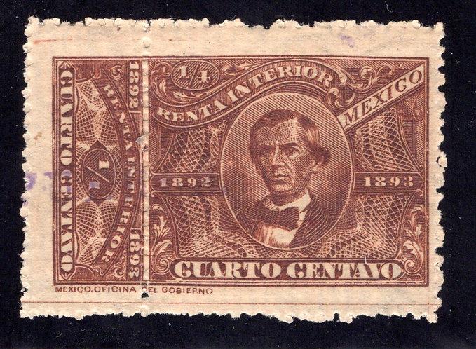 R 91, MEXICO, 1892-1893, ¼c, Internal Revenue, Renta Interior, MLHOG