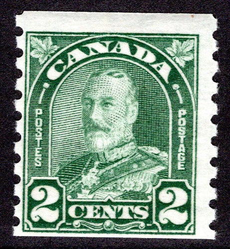 "180 Scott, KGV ""Arch/Leaf"", 2c, dull green, MLHOG,F,Canada Coil Stamp"