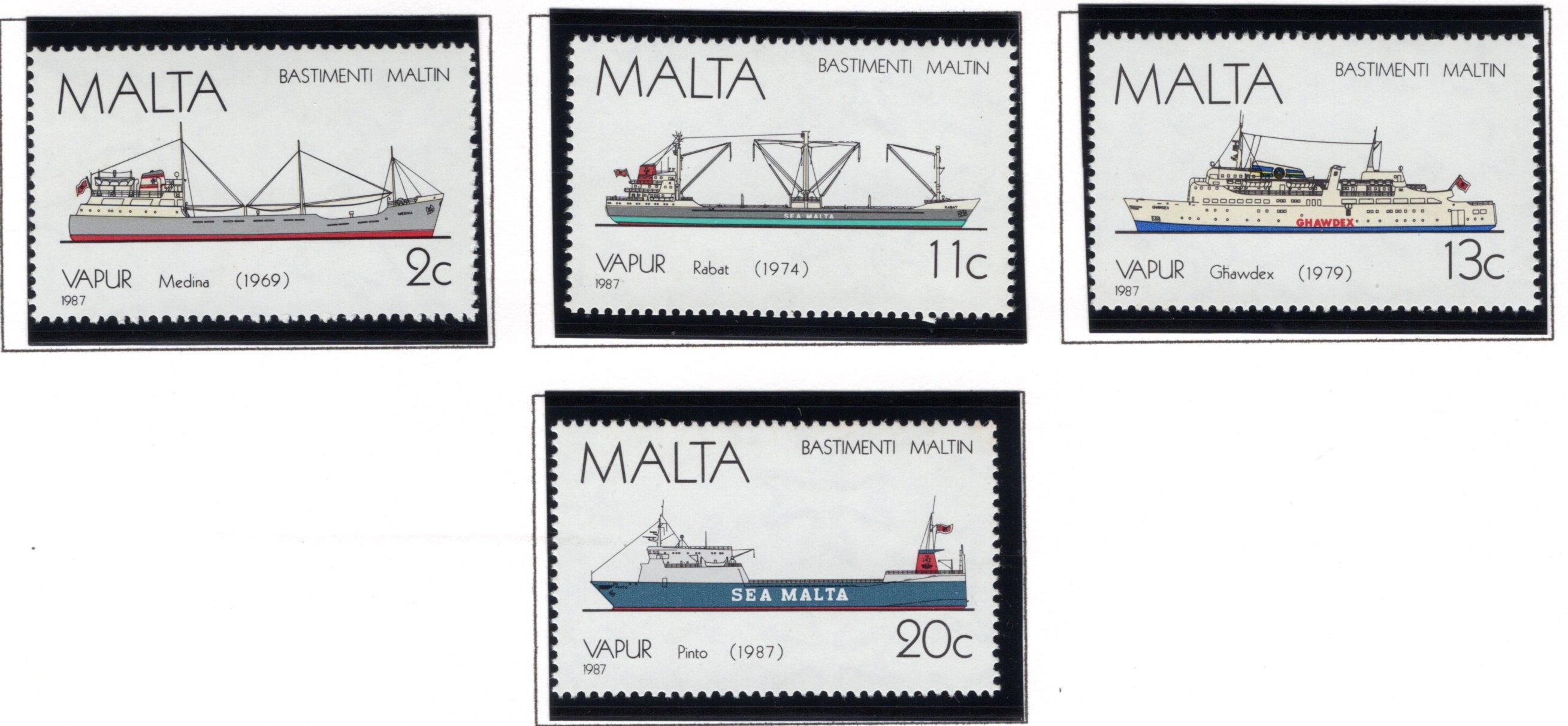 703-706 Malta, Ship Types Stamp Set, 1987, MNHOG
