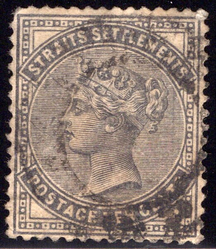 51 Straits Settlements Stamp, 10 Cents, Used, slate, 1882-99
