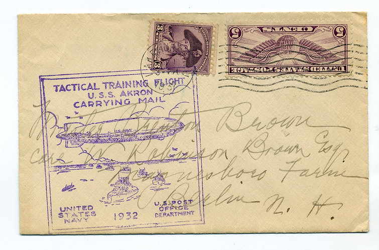 1932USS Akron - Tactical Training Carrying Mail  Torn open across flap