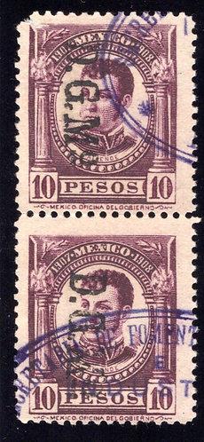 DO 368, Mexico, 1907-1908, 10P, Vert. Pair, Ignacio Allende, Documentary