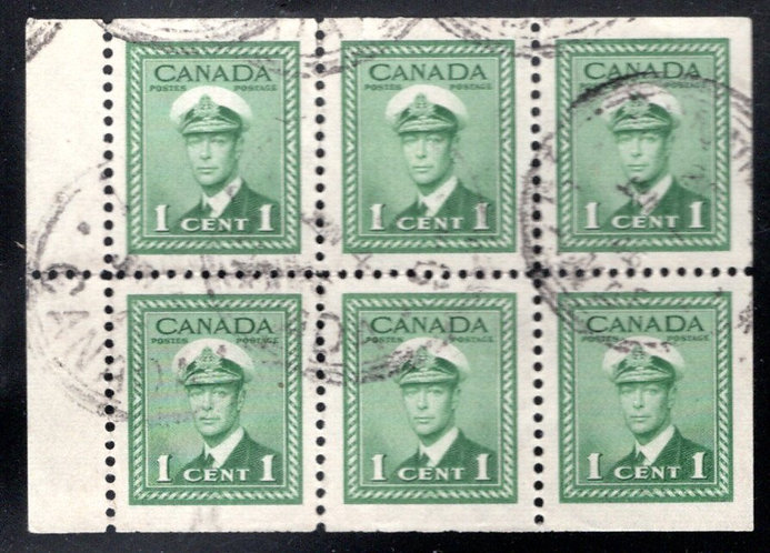 249b, Canada, booklet pane, 6x1c, green, Used, VF, KGVI WAR Issue, Postage Stamp
