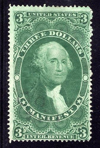 R86c - US Manifest Revenue - $3 Green - perf - F