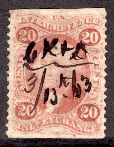 "R42b - 20c - Inland Exchange - part perf - used, red - ms cancel ""CK&D 03/13/63"""