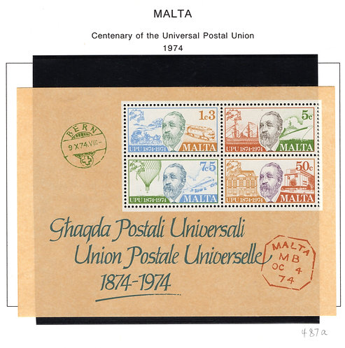 487a Malta, MNH Centenary of the UPU, Souvenir Sheet, 1974