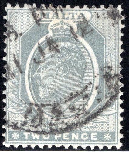 34 Malta, 2p, gray wmk. 3, p.14, used, 1911, F