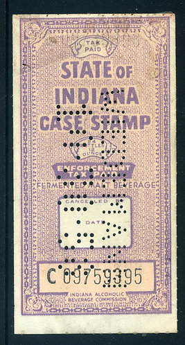 IN B43 - Indiana Beer -1955 24-12oz. violet -perfin, F-VF