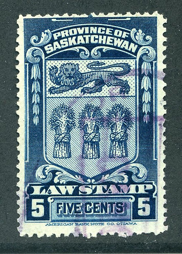 van Dam SL33 - CARIS SKL33 - Used - 5c  blue - 1908 Saskatchewan Law