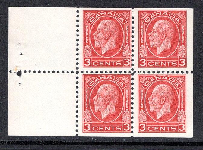 "197d, Scott, 3c, MNHOG, F, ""Medallion""197 issue, booklet pane of 4x 3c (Bkl 22)"