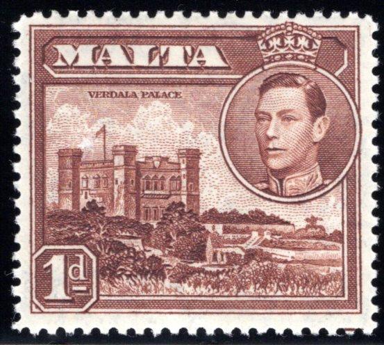 193 Malta, MLHOG, 1p chestnut, 1943, Stamp of Valletta Harbor