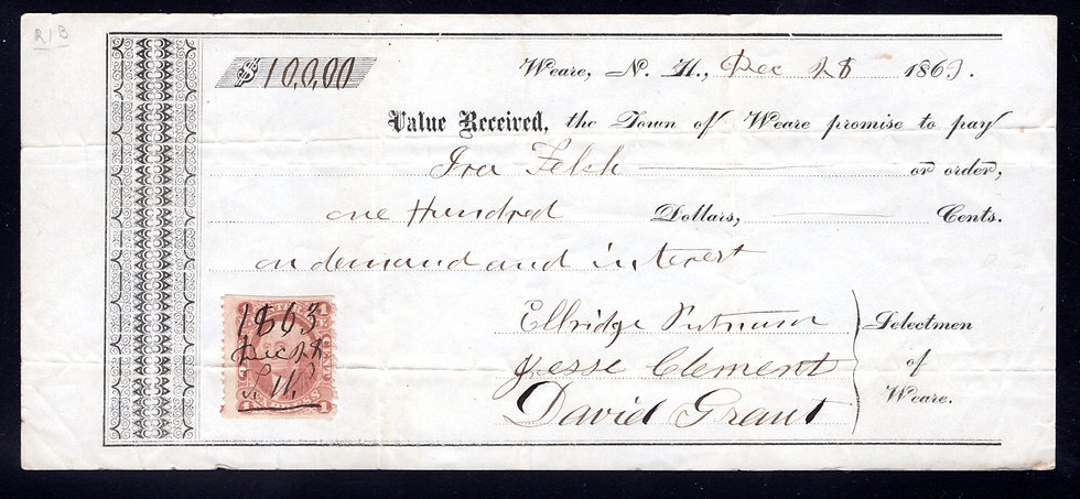 R1b - 1c - Express - Orange- on 1863Promissory Note from Weave, NH