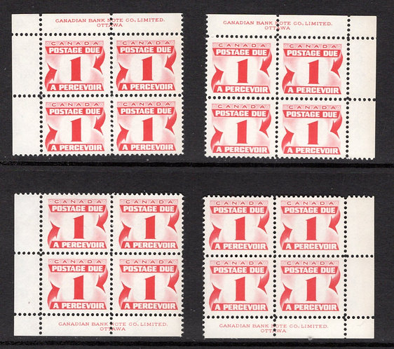 J21, Scott, 1c, VF, matched plate block of 4,1st Centennial issue, MNHOG