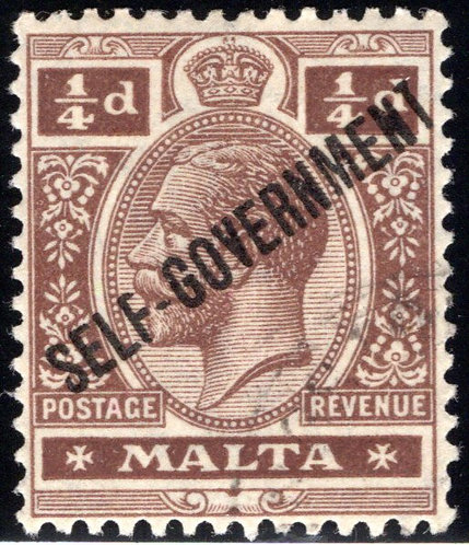 66 Malta, Self-Government, ¼p, brown, very light cancel, LPOG, EF