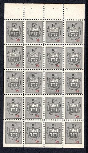 ST10c, 5c gray black, booklet pane of 20, F/VF, MNH, Saskatchewan Telephone