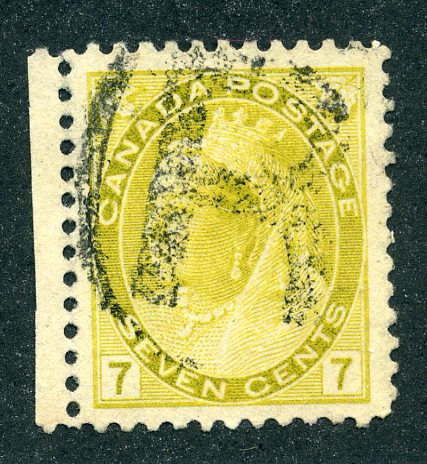 81 Scott - QV Numeral issue - 7c Used VF olive yellow with selvedge