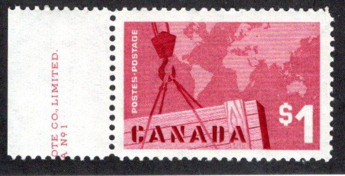 411 Scott - 1963 - Crane and Map - MNHOG, Margin inscription, PB1