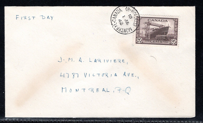 260, Scott, Canada, 20c, FDC, Tied by CDS, 1 Jul 42, no cachet, KGVI War Issue,