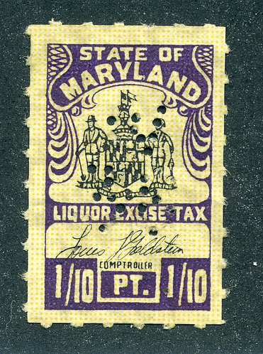 MD L39 - Maryland Liquor Excise Tax - 1/10 Pint- Used Perfin