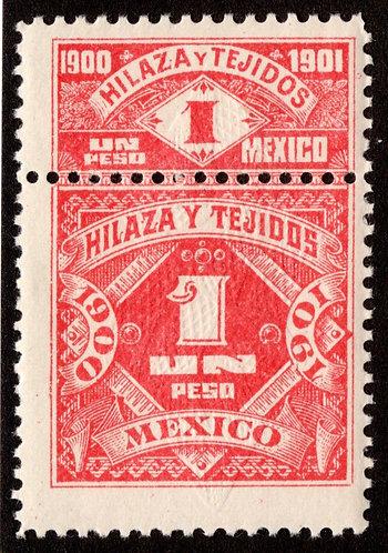 HT 50A, 1P, 1900-1901, Inscriptions and Numerals, MNHOG, Hilaza y Tejidos - Yarn