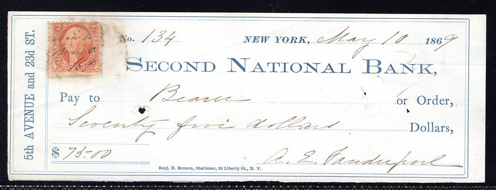 """R15c MISPERF ERRORon checkfrom """"Second National Bank"""" dated May 10, 1869."""
