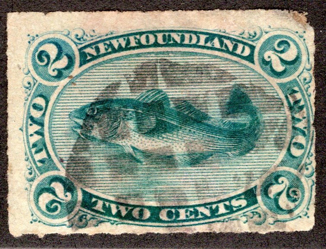 26d, NSSC, Newfoundland, 2c, green, Codfish, Used, Rouletted 8, Cork Cancel, HR
