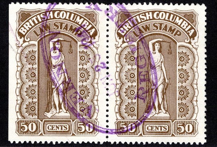 van Dam BCL34a,Used, 50c, horizontal pair, XF/S, Seventh Series,1933-41, Briti