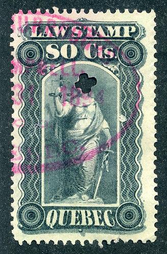 van Dam QL40 - 80c gray violet - Used - Quebec Law Stamp 1893-1906