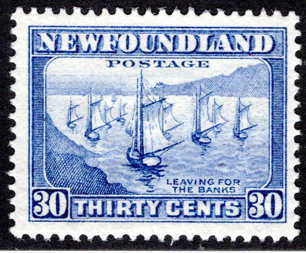 192, NSSC, Newfoundland, 30c, ultramarine, Fishing Fleet, MLHOG, F/VF