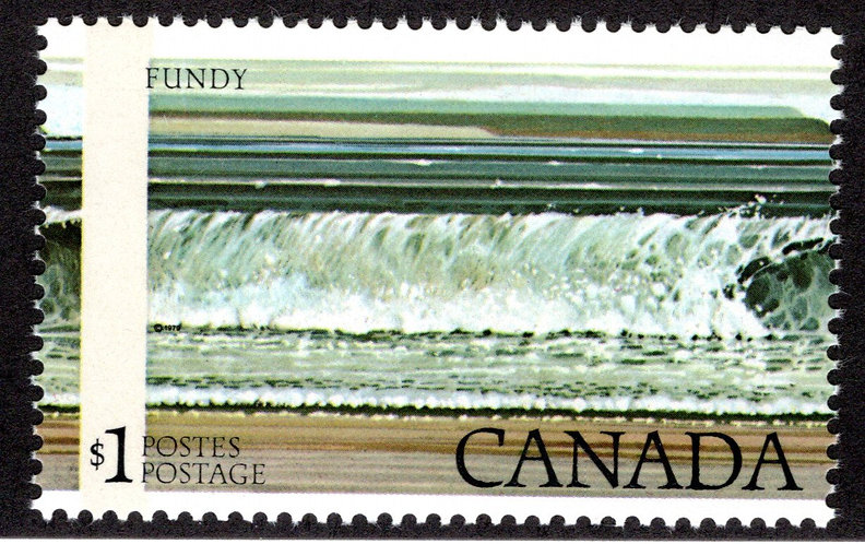 726, $1 Fundy, Shifted Impression, Oddity, Freak Stamp, ex K. Bileski Collection