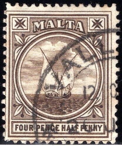42 Malta, 4½p, black brn, used, 1905, F