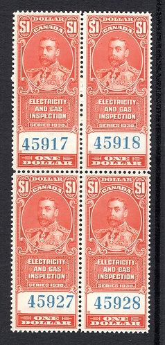 van Dam FEG4, $1, vermillion, MNHOG, block of 4, 1930, George V, Electricity an