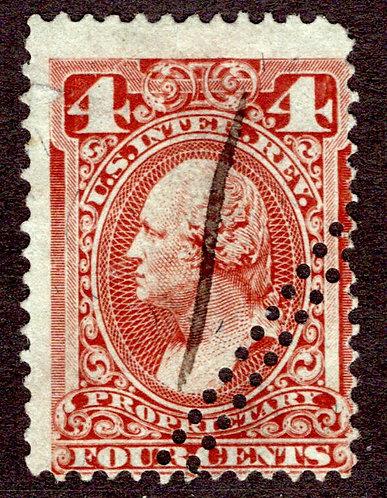 Scott RB14a, 4c red brown, silk paper, Proprietary, Used, F, misperf error (craz