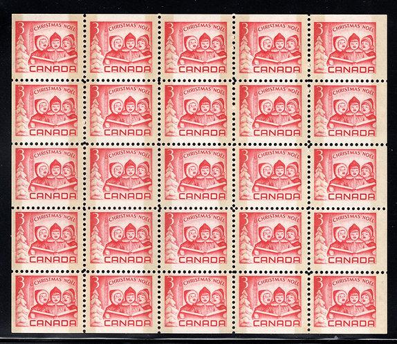 476pq Scott, 3c red, VF, Christmas, Children Carolling, Miniature Pane of 25 (5x