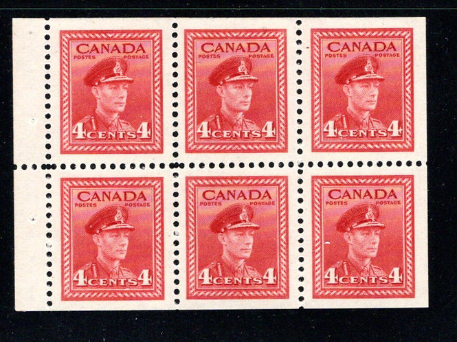"254a, Scott, 4c , VF, MNH, ""War"" issue, booklet pane of 6 x 4c (Bk 36), Canada"