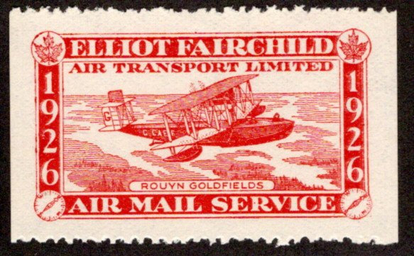 CL10, Canada, 25c,Elliot-Fairchilds Air Transport, MNHOG, red,1926