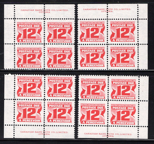 Scott J36iii, 12c, 2nd issue, Canada, Postage Dues, HB, Matched PB Set, MNH