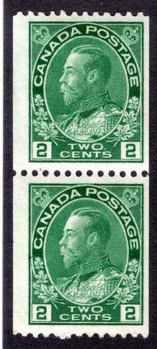 "Scott 133, 2c yellow green, coil pair, VF vertical spacing,King George V ""Admi"