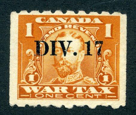 van Dam FWT17a - MNG - 1c orange - DIV 17 precancel - War Tax - 1915 George V C