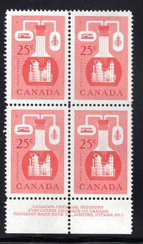 363, Scott, 25c red, PB of 4, MNHOG, Chemical Industry, Canada Postage Stamps
