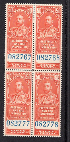 "van Dam FEG1, 50c, vermillion, MNHOG, block of 4, Three stamps have ""squashed la"