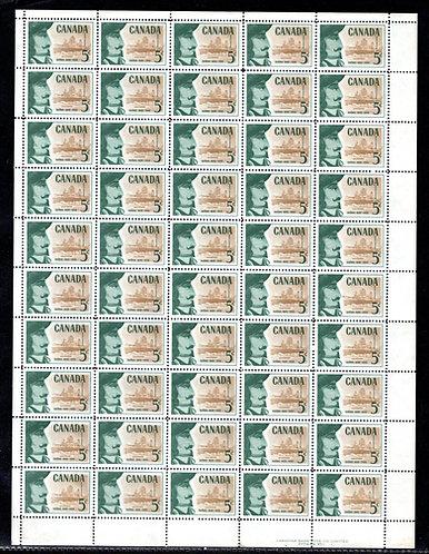 379, Scott, 5c, Canada, Champlain, Full Sheet of 50, VF, 1958, Postage Stamps