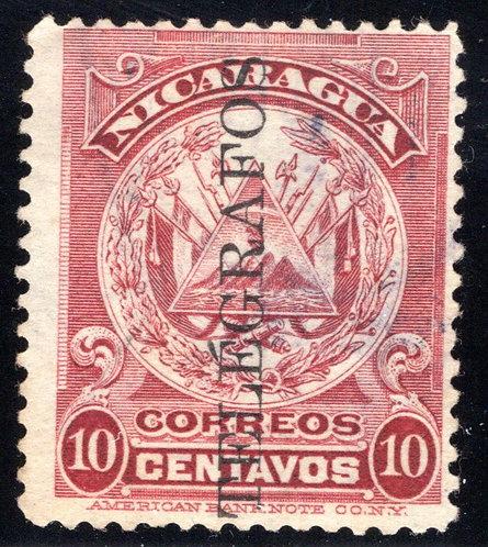 RH134, H134, Type 36, 10c crimson, Nicaragua Telegraph Stamp