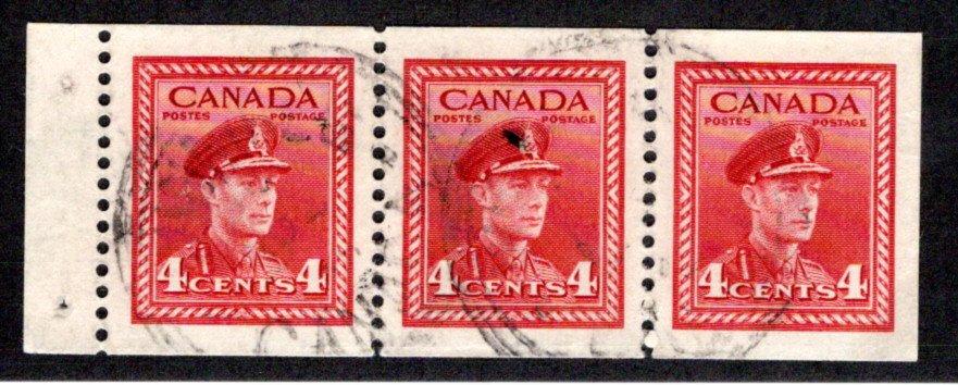 "254b, Scott, 4c , VF, Used,""War"" issue, booklet pane of 3x 4c (Bk 39), Canada"