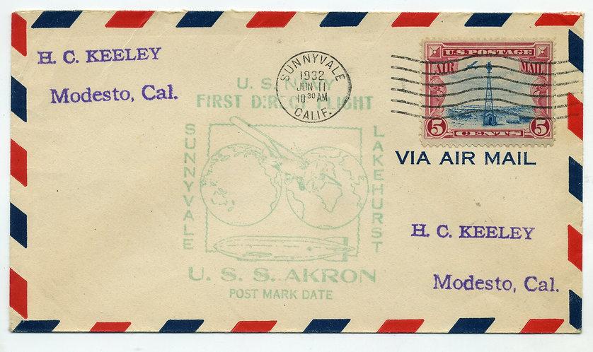 USS AkronCover, US Navy - First Direct Flight Sunnyvale to Lakehurst - June 11,