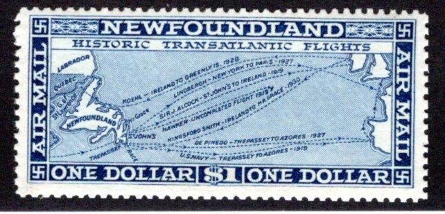 AM9, NSSC, Newfoundland, 1931, $1, Air Mail, F/VF, MNHOG, Historic Transatlantic