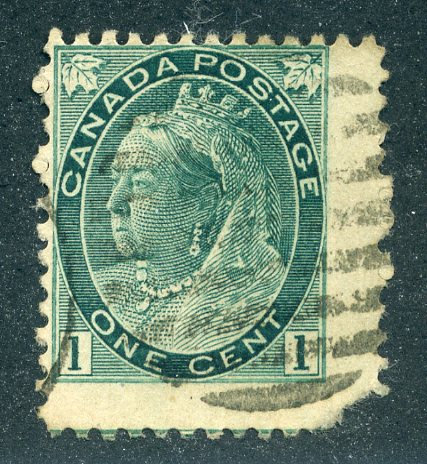 75v Scott - on thick paper - QV Numeral issue - 1c grey green