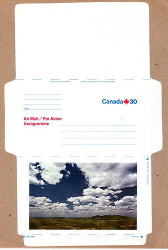 A71 Canada, Aerogramme, 30c blue and red, Farmland, Unused, Unfolded