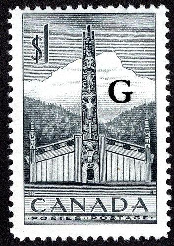 O32 Scott, $1 Totem Pole, Horiz. Pair, MNHOG, Definitive, F, 1951-1953, Overprin